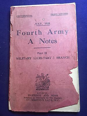 Fourth Army A Notes, Part II. July 1918. WWI