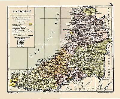 An antique map of Cardigan/ Ceredigion, Wales C1897.