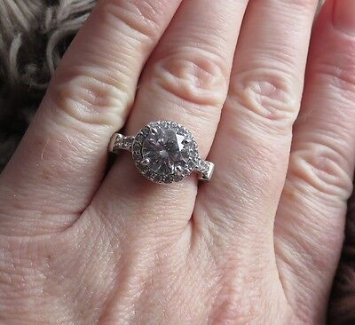 2 Carat CZ Halo Sterling Silver Gorgeous Engagement Ring size 4