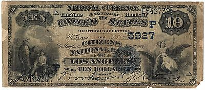 1882 DB $10 - Citizens National Los Angeles CA Ch.5927 - 5 KNOWN - BEST OFFER!