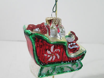 """Glass Sleigh with Gifts Christmas Tree Ornament 2.5"""" Holiday"""