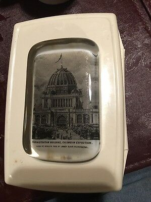 Columbian Exposition Advertising Paperweight Worlds Fair Made By Libbey Glass