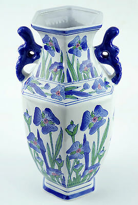 Beautiful Chinese Blue Flower Themed Porcelain Vase, 31cm High - Exc. Cond.