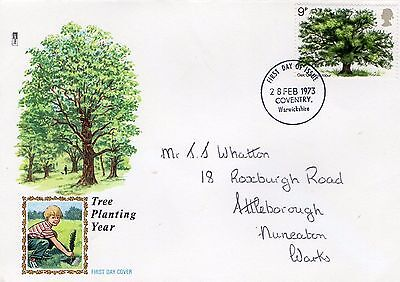 1973 Tree Planting Year With Warwickshire Cds Philart Fdc From Collection S20