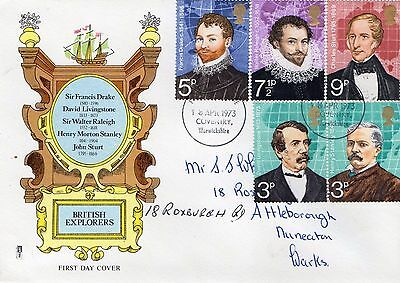 1973 British Explorers With Warwickshire Cds Philart Fdc From Collection E1