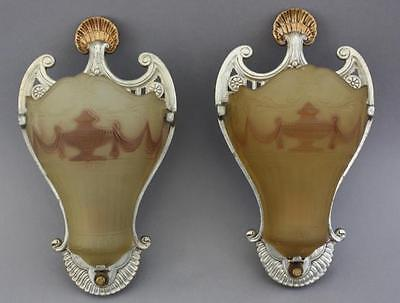 Pair 1920s Beautiful Glass Sconce Lights Fits French Storybook Tuscan (5793)