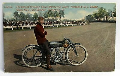 circa 1910 RECORD BREAKING SEARS MOTORCYCLE Illinois State Fair Grounds postcard