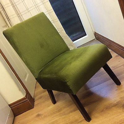 Vintage 60s Small Chair In Original Green Material ? Vgc Shabby Chic Project