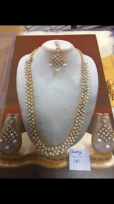 Bollywood Style Costume Jewelry Long Necklace Set Gold/white  Stone & Pearls