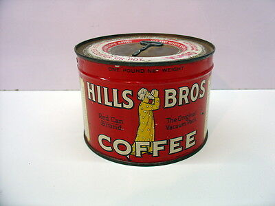 Vintage Unopened 1lb Hills Bros Coffee Can with Key Attached