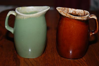 Set of 2 Hull Brown & Green Creamers Ovenproof Pottery