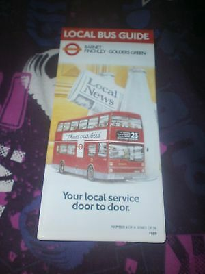 London Transport Local Bus Map-Barnet/finchley/golders Green 1989