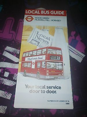 London Transport Local Bus Map-Wood Green/muswell Hill/hornsey 1989