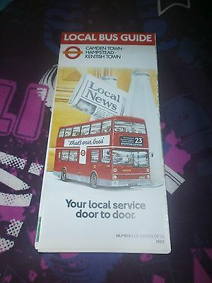 London Transport Local Bus Map-Camden Town/hampstead/kentish Town 1989