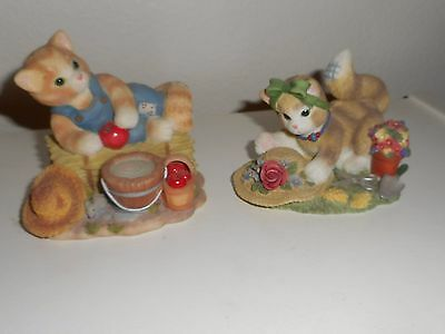 """2 Enesco Calico Kittens"""" Feel-Ine Fine In The Country"""" & Earth Blossoms For You"""