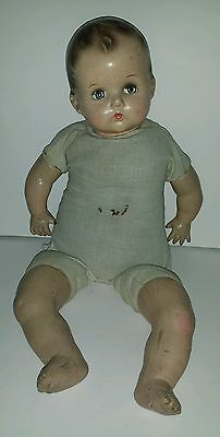 "BIG Antique Composition Baby Girl Doll 21"" Tall"