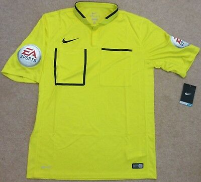 Nike 2015-16 PGMOL Premier League/EFL Referee Yellow S/Sleeve Shirt - Med (BNWT)