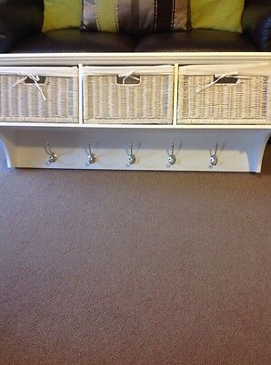 Tetbury Large Solid White Wood Coat Rack With 3 Storage Baskets RRP £199.00