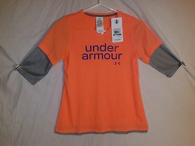 Under Aromour Heat Gear Loose Youth Large Girls NWT ~ MSRP $29.99 ~Orange  # 483