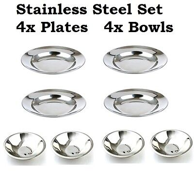 Camp Dinner Set 4x Bowls 4x Plates Stainless Steel Metal Party Picnic Cookware