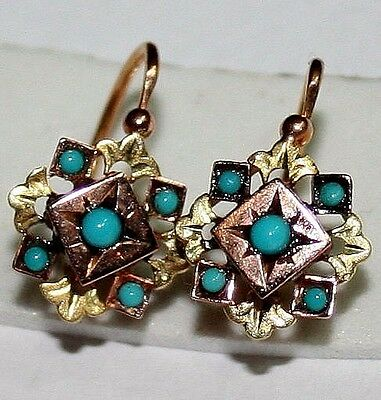 ANTIQUE VICTORIAN FRENCH BI COLOR RY 18K GOLD TURQUOISE HAND MADE EARRINGS c1880