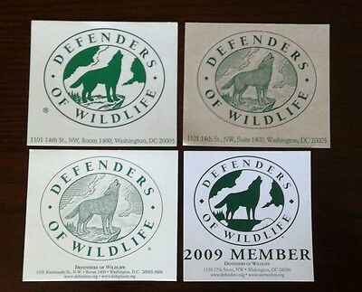 Wolves Wolf Defenders Of Wildlife Member Vintage Sticker Decal Lot 4