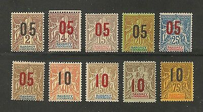 Dahomey #32-41 FVF MNH & VLH - 1912 Surcharged Navigation & Commerce Scarce