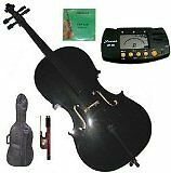 Merano 4/4 (Full) Size Black Cello with Bag and Bow + Extra