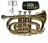 Merano NEW B Flat Gold / Silver Pocket Trumpet with Case+Mou