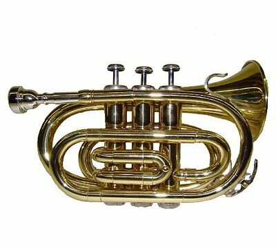 Crystalcello WD480 B Flat Lacquer Plated Pocket Trumpet with