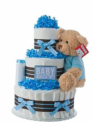 Diaper Cake - Darling Boy Theme Handmade By Lil Baby Cakes -