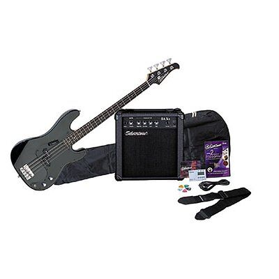 Silvertone LB11 Bass Guitar and Amp Package, Liquid Black