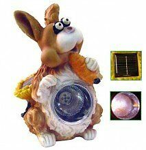 Outdoor Cute Large Solar Powered Bunny Spotlight Holding Car