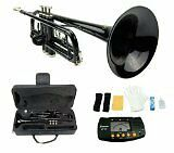 Merano B Flat BLACK / Silver Trumpet with Case+Mouth Piece+V