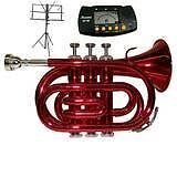 Merano B Flat Red Pocket Trumpet with Case+Metro Tuner+Black