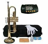 Merano B Flat GOLD / Silver Trumpet with Case+Mouth Piece+Va