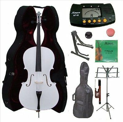 Merano 4/4 Full Size White Cello with Hard Case, Bag and Bow