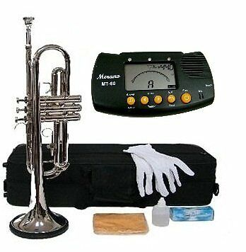 Merano B Flat Silver Trumpet with Case+Mouth Piece+Valve Oil+Metro Tuner