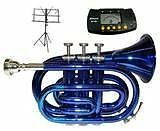 Merano WD480BL B Pocket Trumpet with Case, Mouth Piece, Metr