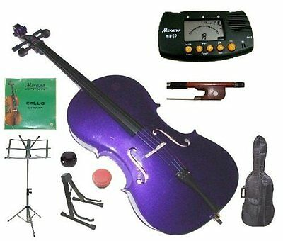 Merano 4/4 Full Size Purple Student Cello with Bag and Bow+2