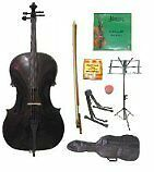 GRACE 4/4 Size Black Cello with Bag and Bow+Rosin+Extra Set