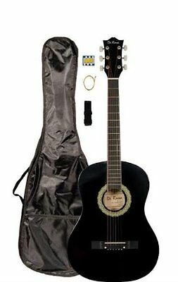 """38"""" Inch Student Beginner Black Acoustic Guitar with Carryin"""