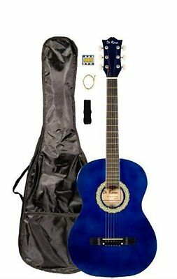 "38"" Inch Student Beginner Blue Acoustic Guitar with Carrying"