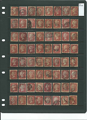 SG43 1d red plate 111 used - 92 different letterings part reconstruction.