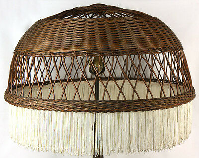 """Antique Arts & Crafts Old Hand Made Wicker Floor Lamp Hanging 24"""" Shade W Fringe"""