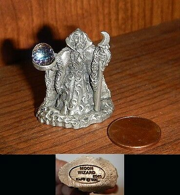 """Fantasy Pewter Wizard Figure with Jeweled Crystal Ball """"Moon Wizard"""" WAPW"""