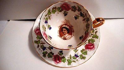 1953 Aynsley Coronation Queen Elizabeth Ii China Thistle & Rose Tea Cup & Saucer