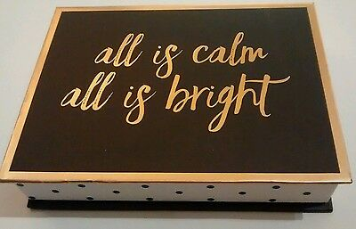 cr GIBSON classic gold fonts on black -  box set of 15 Holiday Greeting Cards
