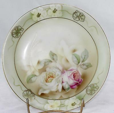 """Prov Sace E.S. Germany-6""""-2 Roses(Pink & White)Porcelain Plate-Gilded-Hand Work"""