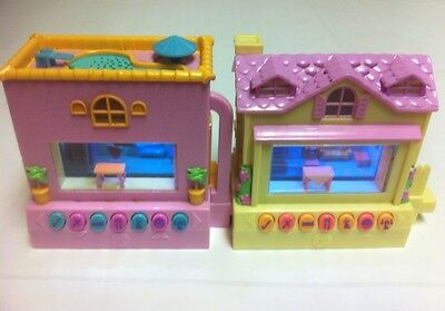 Lot of (x2) Pixel Chix Interactive Electronic Houses yellow / pink house pool